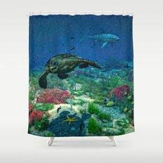 Sea turtles swim through the Mediterranean Sea Shower Curtain