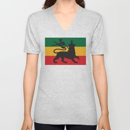 rastafarian flag with the lion of judah (reggae background) Unisex V-Neck