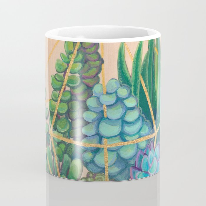 Geometric Terrarium 1 Acrylic on Wood Painting Coffee Mug
