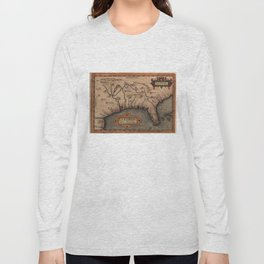 Vintage Spanish Map of Florida Discovery (1584) Long Sleeve T-shirt