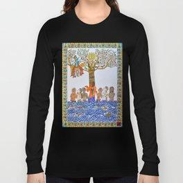 Krishna Leela, Madhubani Painting Long Sleeve T-shirt