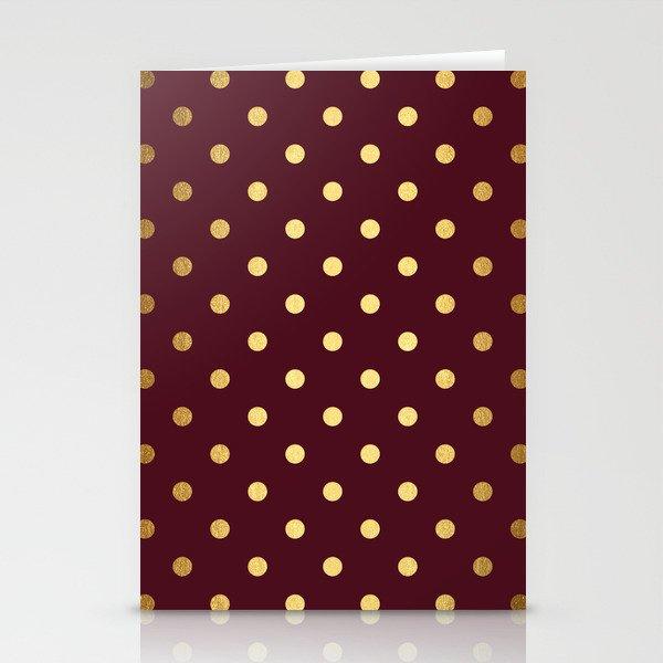 Maroon Gold Polka Dots Stationery Cards