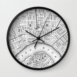 Vintage Map of New Orleans (1880) BW Wall Clock