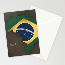 Brazil map special vintage artwork style with flag illustration Stationery Cards