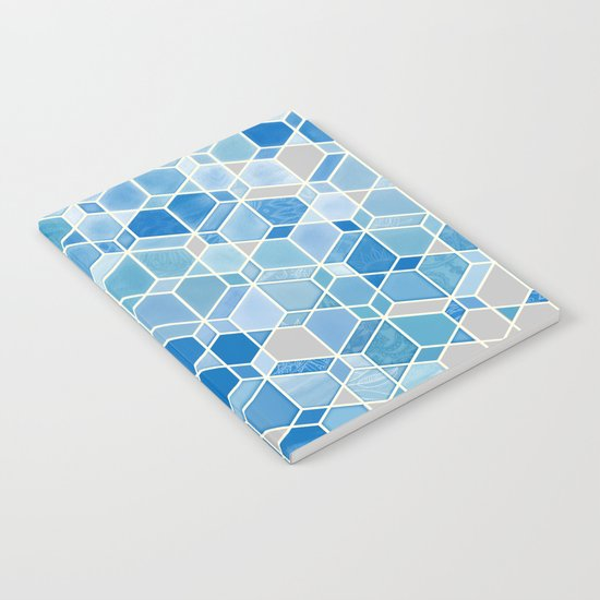 Cubes & Diamonds in Blue & Grey  Notebook
