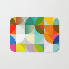 mid century geometry vibrant colors Bath Mat