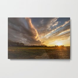 Mississippi Delta - Sunset Over a Farm After Stormy Day in Southeast Metal Print