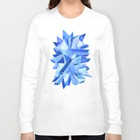 geode Long Sleeve T-shirts featuring Sapphire Watercolor Facets by Cat Coquillette