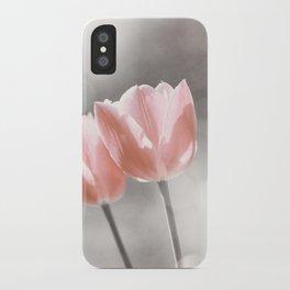 Peach Coral Tulip Photography, Peach Flower Photograph, Coral Grey Nursery Photo Print iPhone Case