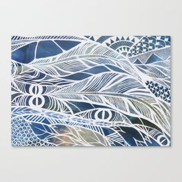 Feathery Design in Blues Canvas Print