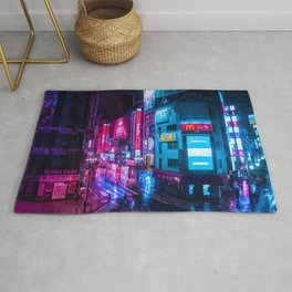 Post Apocalyptic Neon City Blues  - Tokyo Rug