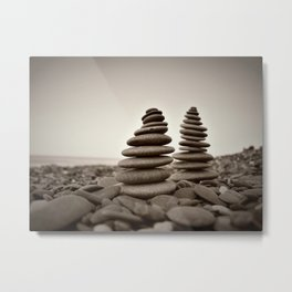 Stone pyramid symbolizing zen, harmony, balance. Metal Print