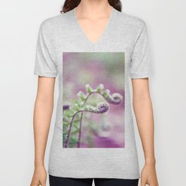 Ferns in Green, Purple, and Pink Unisex V-Neck