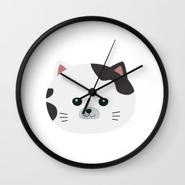 White Cat with spotted fur Wall Clock