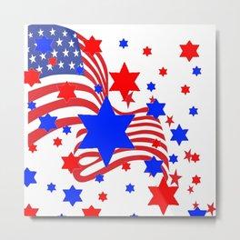 PATRIOTIC JULY 4TH AMERICAN FLAG ART Metal Print