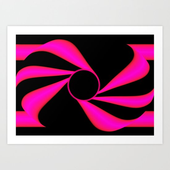 Abstract. Pink+Black Dot. Art Print