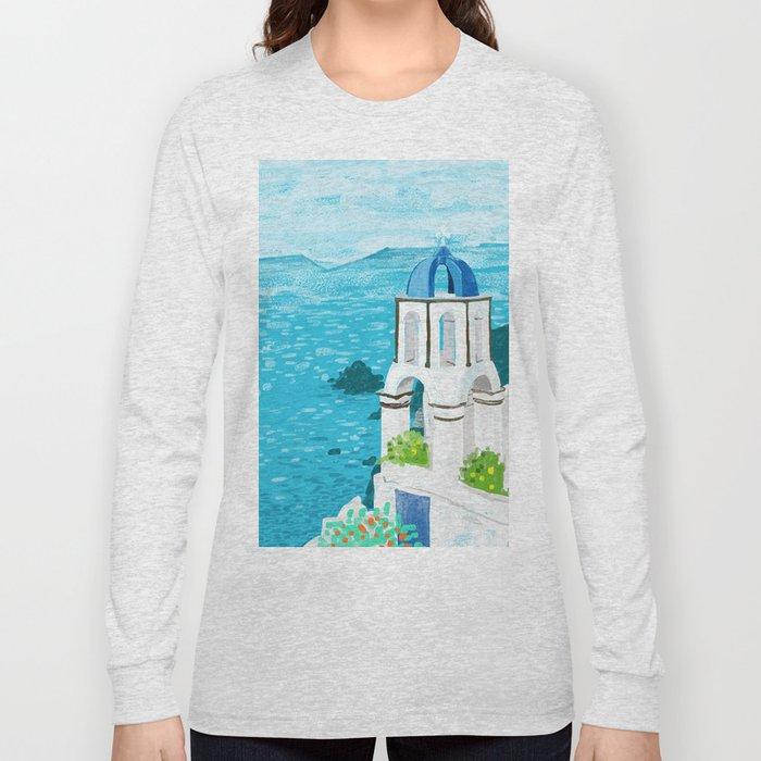 Greek Landscape #painting #travel #greece Long Sleeve T-shirt