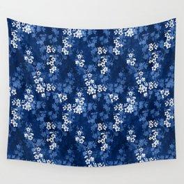 Sakura blossom in deep blue Wall Tapestry