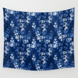 Sakura blossom in deep blue Wall Tapestry
