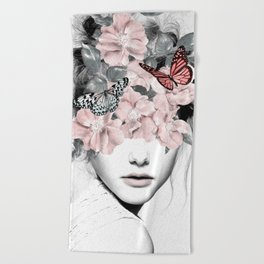 WOMAN WITH FLOWERS 10 Beach Towel