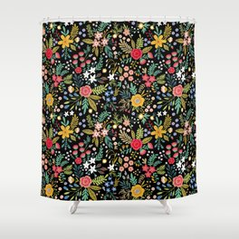 Amazing floral pattern with bright colorful flowers, plants, branches and berries on a black backgro Shower Curtain