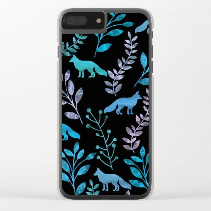 Watercolor Floral & Fox IV Clear iPhone Case
