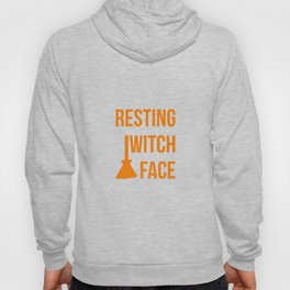 Resting Witch Face Halloween Fly On A Broom Hoody