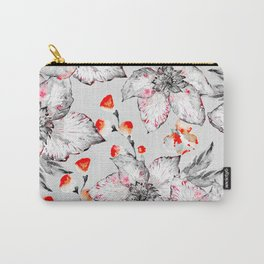 Red And Grey Floral Pattern Carry-All Pouch