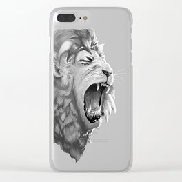 Grayscale Lion Clear iPhone Case