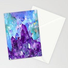 PURPLE AMETHYST CRYSTALS & BLUE-GREEN AQUAMARINE Stationery Cards