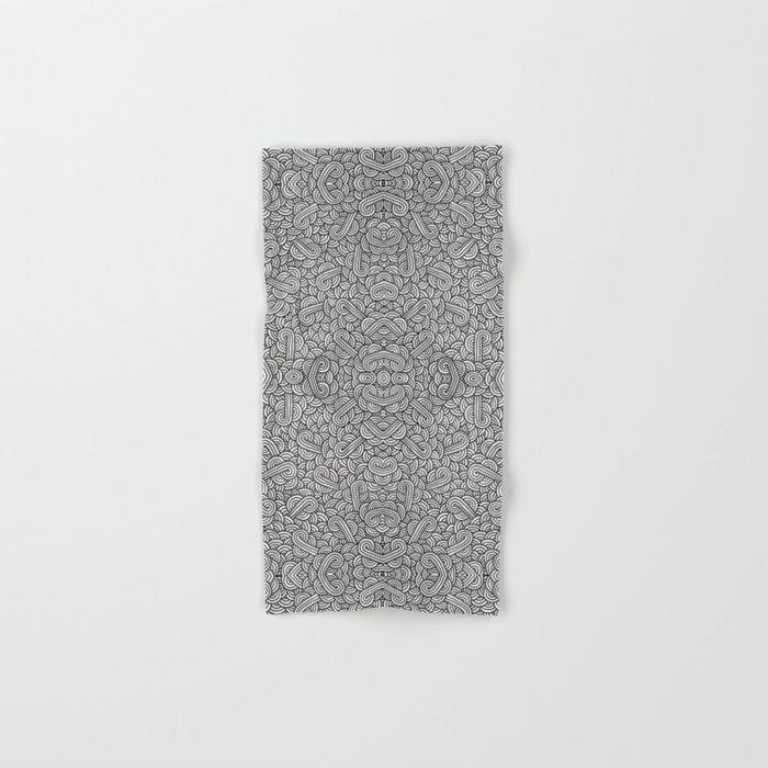 Black and white swirls doodles Hand & Bath Towel