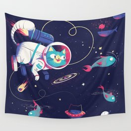 The Adventures of Space Cat Wall Tapestry