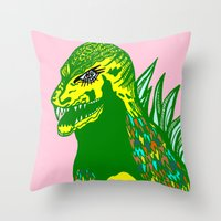dino Throw Pillows featuring Dino by intermittentdreamscapes