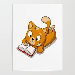 Yellow Cat Reading Book Poster