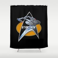 akira Shower Curtains featuring StarTrek Akira  Command Signia Chest by Jamie Fontaine