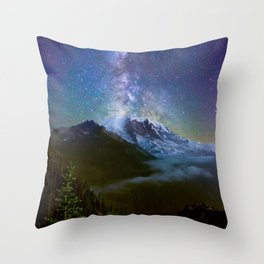 Milky Way Over Mount Rainier Throw Pillow