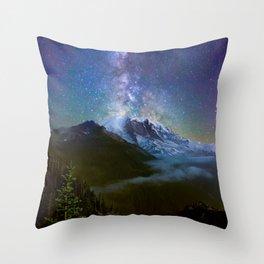 Milky Way Over Mount Rainier Throw Pillow