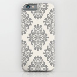 Floral Damask Pattern – Neutral Medium Gray and Light Beige iPhone Case
