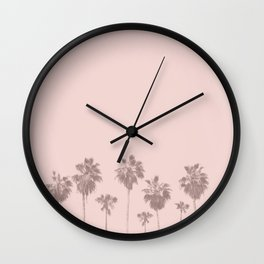 Trees Palm in Pink Wall Clock
