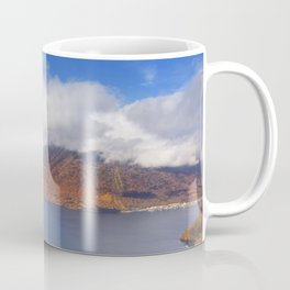 Lake Chuzenji, Japan in autumn from above Coffee Mug