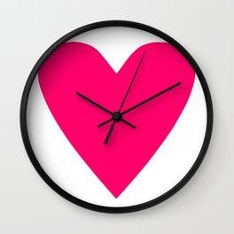 Neon Pink Heart Wall Clock