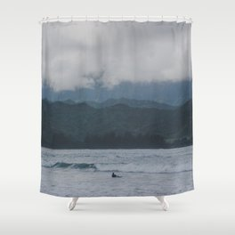 Lone Surfer - Hanalei Bay - Kauai, Hawaii Shower Curtain