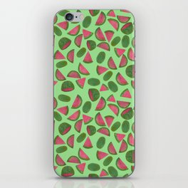 Whole Watermelons Wedged and Sliced Pattern on Mint Green iPhone Skin