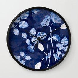 Flora Cyanotype Wall Clock