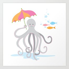 Sweet octopus with a Parasol Art Print