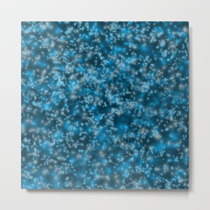 Turquoise Blue Field of Stars Metal Print