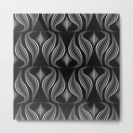 "Art Deco . Black and white pattern ."" Waterfall "". Metal Print"