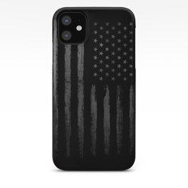 Grey Grunge American flag iPhone Case