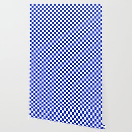 Cobalt Blue and White Checkerboard Pattern Wallpaper