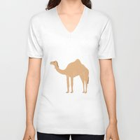 camel V-neck T-shirts featuring Camel by tamara elphick